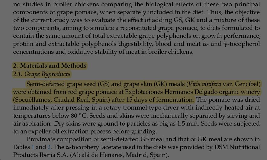 Alimentación de pollos de engorde con harinas de semilla y piel de uva